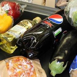 Grocery shopping at a checkout
